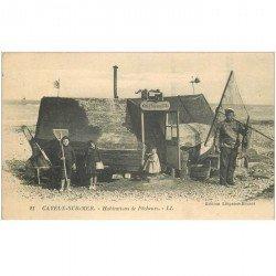 carte postale ancienne 80 CAYEUX-SUR-MER. Au Pauvre Toto habitation de Pêcheurs. Filets pour Crustacés et Poissons