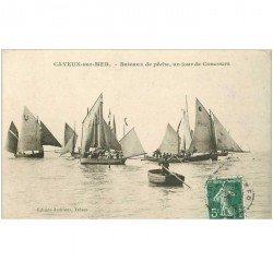 carte postale ancienne 80 CAYEUX-SUR-MER. Bateaux de Pêche un jour de Concours 1909 Pêcheurs et Barques
