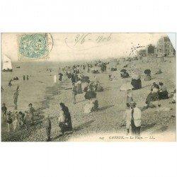 carte postale ancienne 80 CAYEUX-SUR-MER. La Plage 1906. Coin droit biseauté