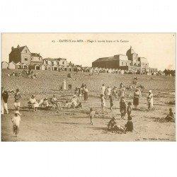 carte postale ancienne 80 CAYEUX-SUR-MER. La Plage à Marée basse et Casino
