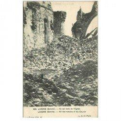 carte postale ancienne 80 LIHONS. Ce qui reste de l'Eglise. Guerre 1914