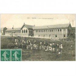 carte postale ancienne 80 MERS LES BAINS. Les Colonies Scolaires 1908 Enfants, Monitrices et Moniteurs