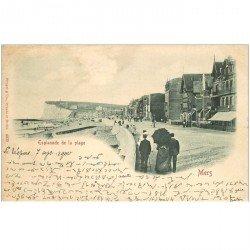 carte postale ancienne 80 MERS-LES-BAINS. Esplanade de la Plage. Rare Timbre de 1900