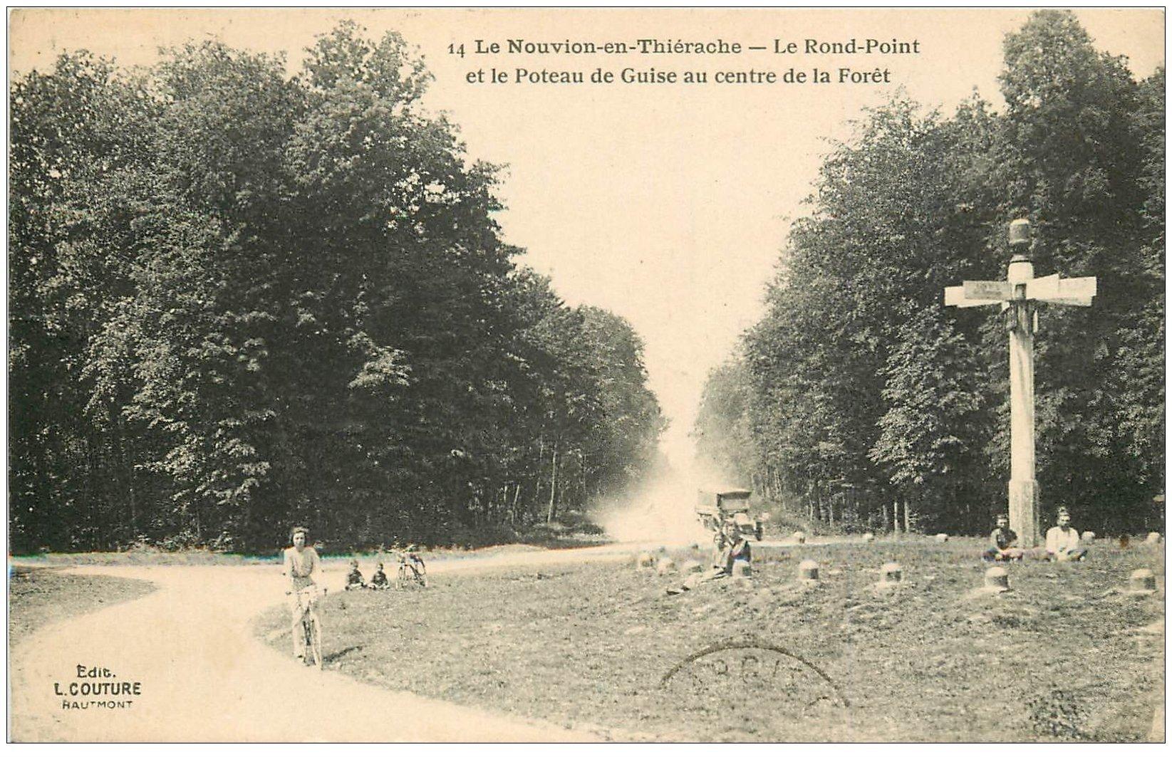 carte postale ancienne 02 LE NOUVION-EN-THIERACHE. Poteau de Guise au Rond Point 1924