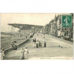 carte postale ancienne 80 MERS-LES-BAINS. La Plage Promenade 1908