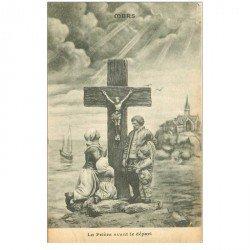 carte postale ancienne 80 MERS-LES-BAINS. La Prière avant le départ du Pêcheur