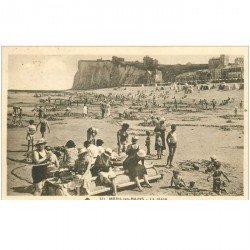carte postale ancienne 80 MERS-LES-BAINS. Le repos sur la Plage 1937