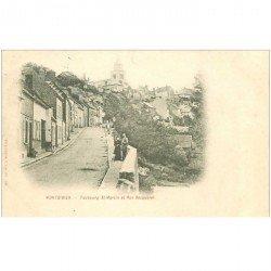 carte postale ancienne 80 MONTDIDIER. 1901 Faubourg Saint-Martin et Rue Becquerel