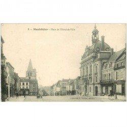 carte postale ancienne 80 MONTDIDIER. Café du Commerce Place Hôtel de Ville