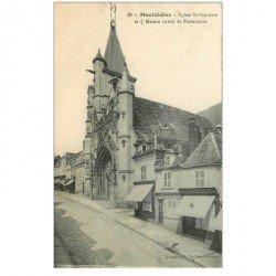 carte postale ancienne 80 MONTDIDIER. Eglise Saint-Sépulcre et Maison de Parmentier notée par la croix