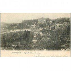 carte postale ancienne 80 MONTDIDIER. Esplanade et Palais de Justice 1904