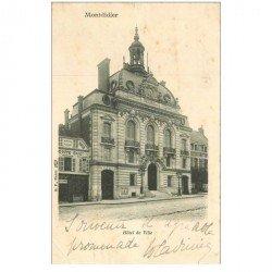 carte postale ancienne 80 MONTDIDIER. Maison Guery glaces et Hôtel de Ville 1904. Pli coin gauche