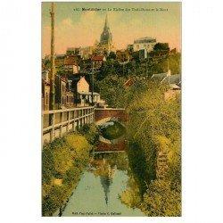 carte postale ancienne 80 MONTDIDIER. Rivière des Trois-Doms et le Mont. Edition Fafet photo Galland.