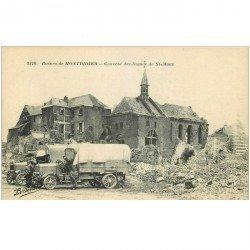 carte postale ancienne 80 MONTDIDIER. Ruines Guerre 1914. Camions militaire Ciuvent des Dames de Saint-Maur