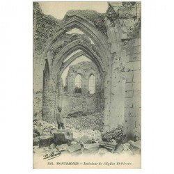 carte postale ancienne 80 MONTDIDIER. Ruines Guerre 1914. Eglise Saint-Pierre avec Soldat