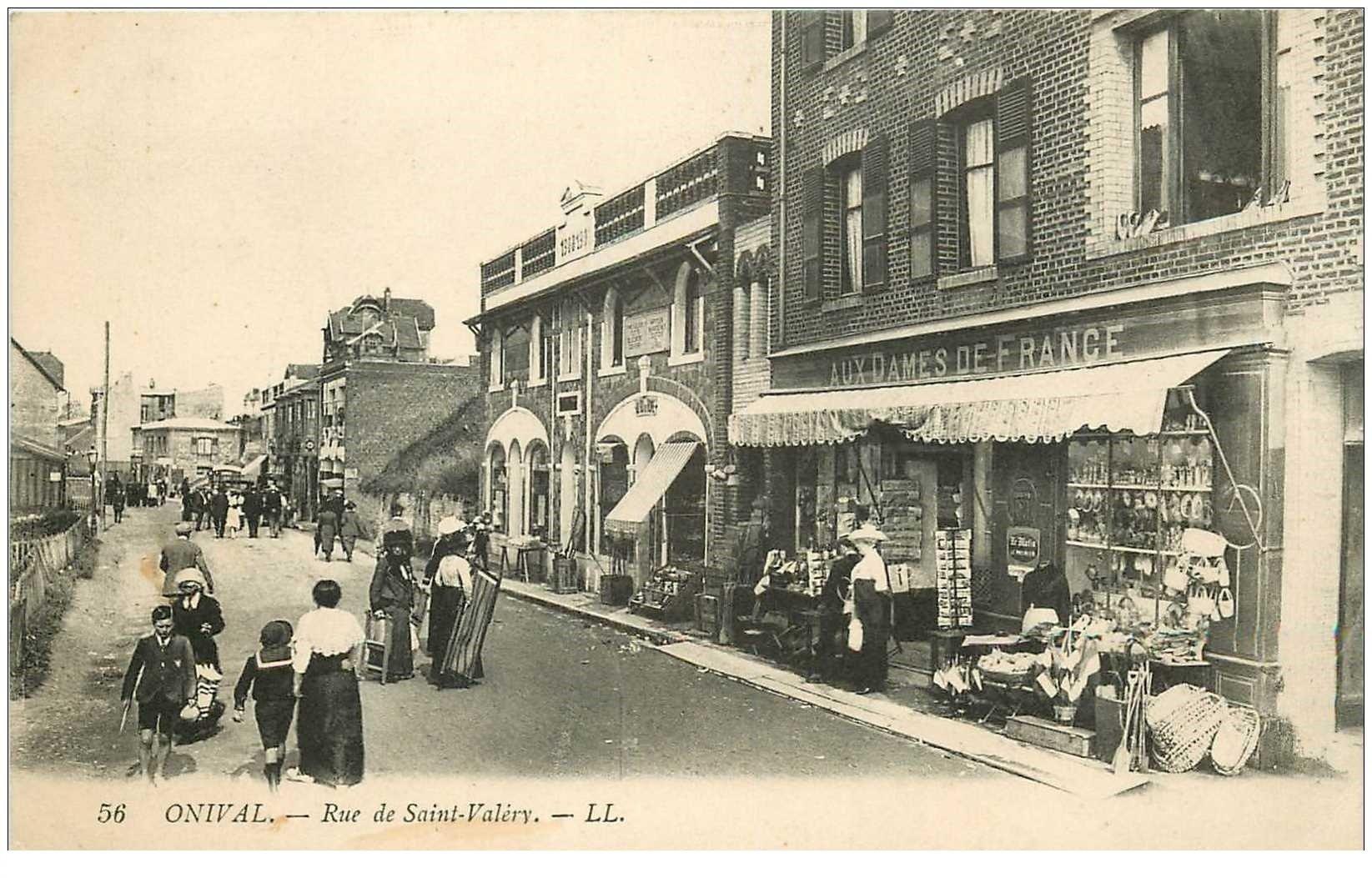 80 ONIVAL. Rue Saint Valéry magasin Aux Dames de France vente de cartes postales