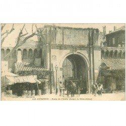 carte postale ancienne 84 AVIGNON. Fiacre Porte de l'Oulle 1906