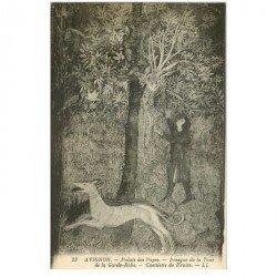 carte postale ancienne 84 AVIGNON. Fresque de la Tour de la Garde-robe. Cueillette des Fruits