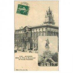 carte postale ancienne 84 AVIGNON. Hôtel de Ville et Monument Comté Venaissin 1912