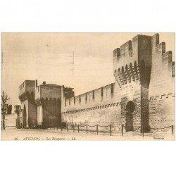 carte postale ancienne 84 AVIGNON. Le Palais des Papes les Remparts 1924