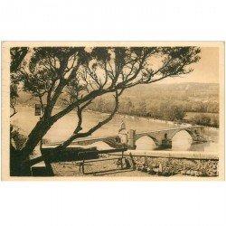 carte postale ancienne 84 AVIGNON. Le Pont Saint-Bénézet 1939 vu des Rochers des Doms