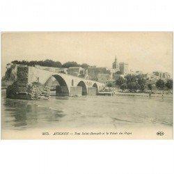carte postale ancienne 84 AVIGNON. Le Pont Saint-Bénézet et le Palais des Papes 1916