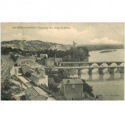 carte postale ancienne 84 AVIGNON. Panorama des Bords du Rhône 1905