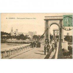 carte postale ancienne 84 AVIGNON. Pont suspendu 1924