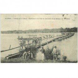 carte postale ancienne 84 AVIGNON. Travaux du 7ème repliement d'un Pont de Chevalets et de Bateaux