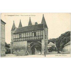 carte postale ancienne 02 LONGPONT. Porte fortifiée de l'Abbaye 1916