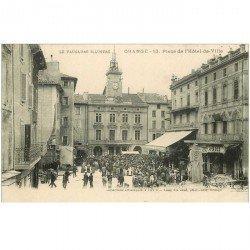 carte postale ancienne 84 ORANGE. Place Hôtel de Ville 1921 Café du Commerce et des Deux mondes