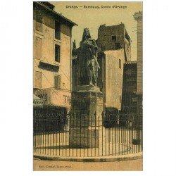 carte postale ancienne 84 ORANGE. Rambaud Comte d'Orange. Tabac et Hôtel de la Mule. Carte toilée