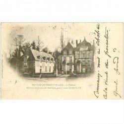 carte postale ancienne 85 BOUILLE COURDAULT. Le Château 1901 avec Jardinier et Laitière