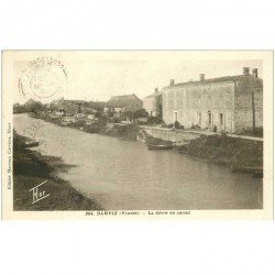 carte postale ancienne 85 DAMVIX. La Sèvre en Amont 1943 timbre Pétain
