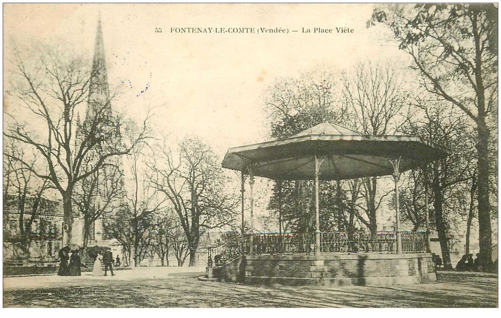 carte postale ancienne 85 FONTENAY LE COMTE. Kiosque à musique Place Viète. Tampon militaire