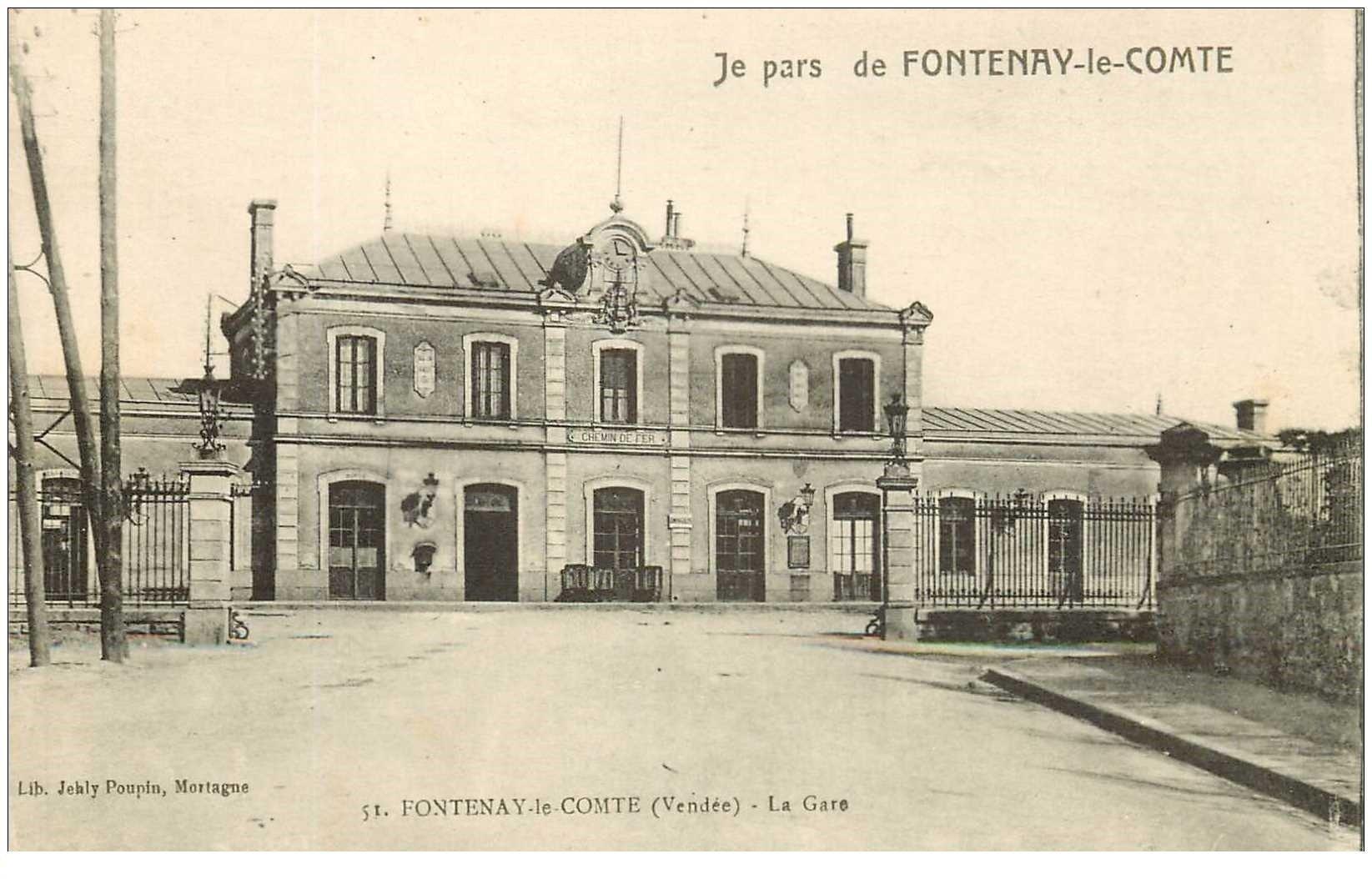 85 fontenay le comte la gare pour montreuil 1919. Black Bedroom Furniture Sets. Home Design Ideas