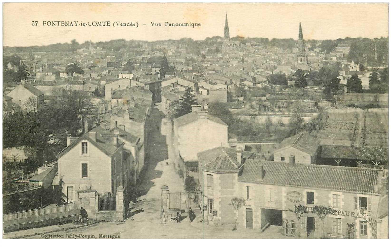 carte postale ancienne 85 FONTENAY LE COMTE. Restaurant Au Laurier Vert 1915 et l'octroi