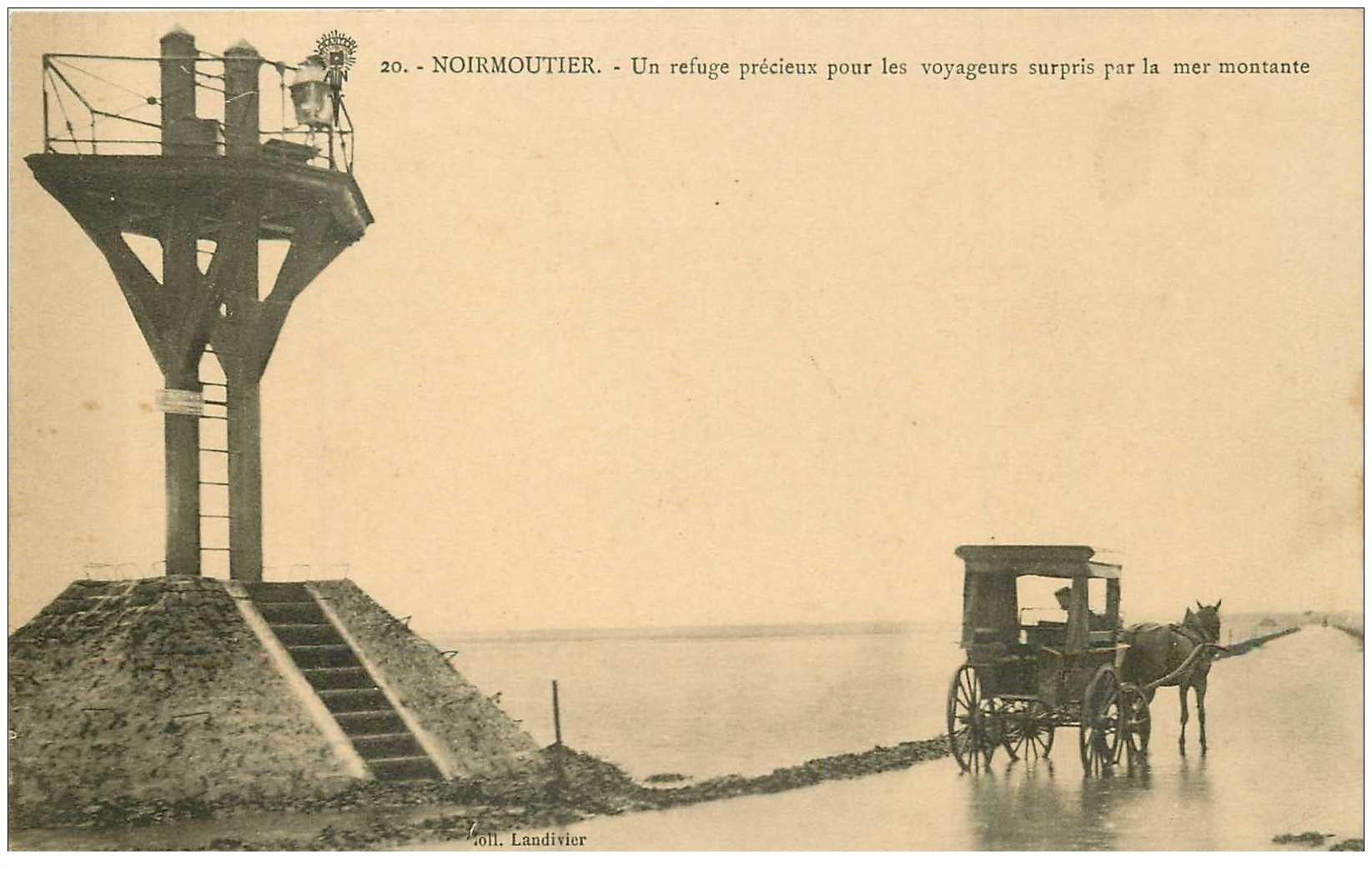 carte postale ancienne 85 ILE DE NOIRMOUTIER. Attelage près du Refuge pour Voyageurs surpris par la Mer montante