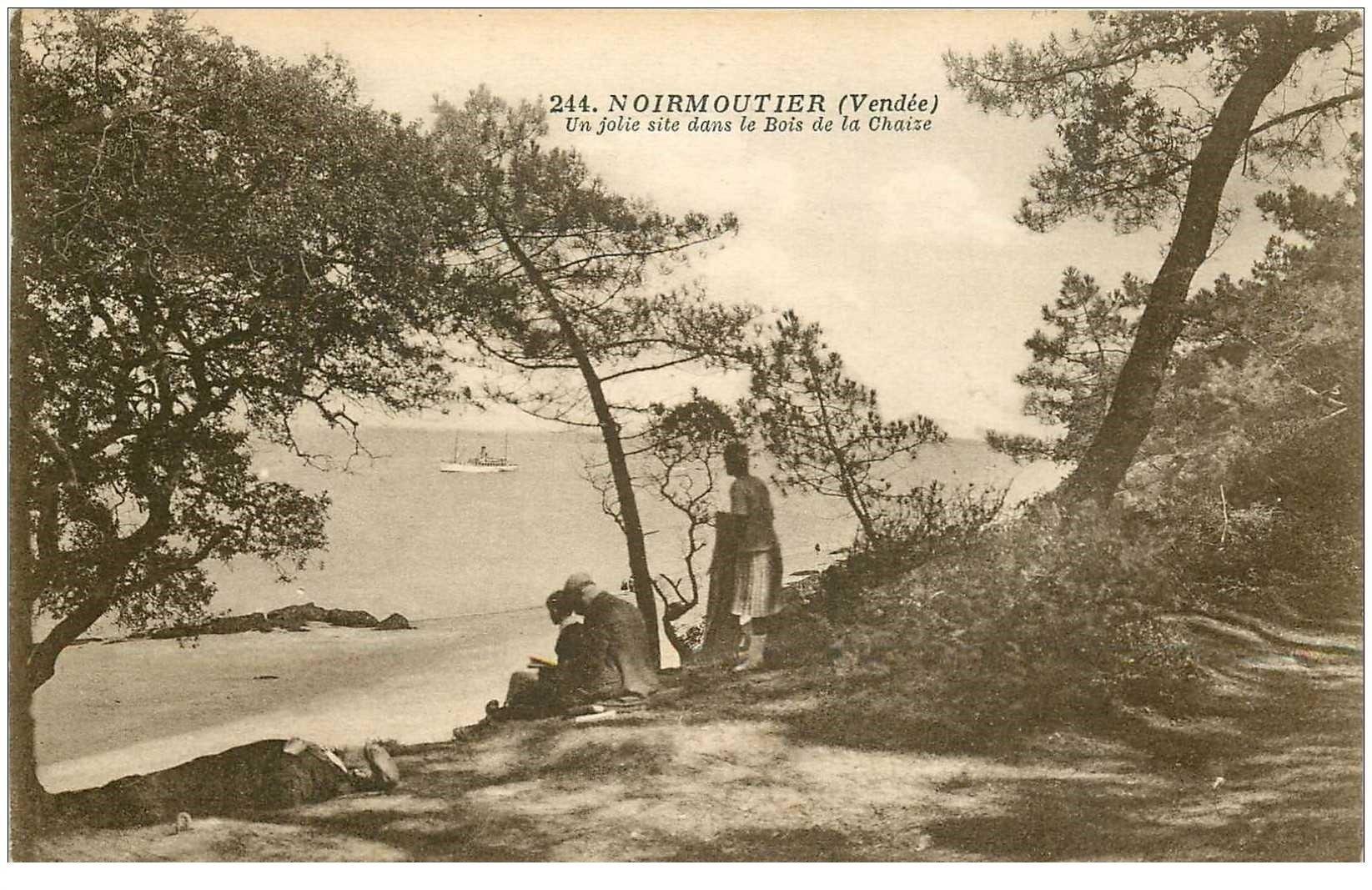 carte postale ancienne 85 ILE DE NOIRMOUTIER. Bois de Chaize 1926 animation