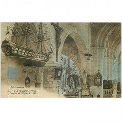 carte postale ancienne 85 ILE DE NOIRMOUTIER. Eglise Saint Filibert avec maquette de bateau