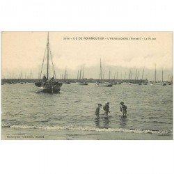 carte postale ancienne 85 ILE DE NOIRMOUTIER. Herbaudière la Plage avec Bateaux de Pêcheurs