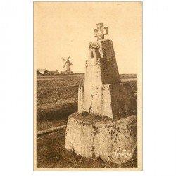 carte postale ancienne 85 ILE DE NOIRMOUTIER. Moulin et Calvaire de Luzay route Herbaudière