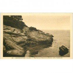 carte postale ancienne 85 ILE DE NOIRMOUTIER. Rochers au Bois de Chaize près Estacade