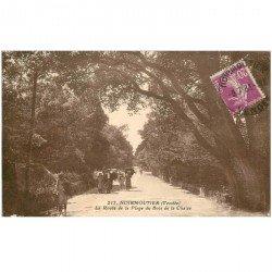 carte postale ancienne 85 ILE DE NOIRMOUTIER. Route Plade Bois de Chaize 1933