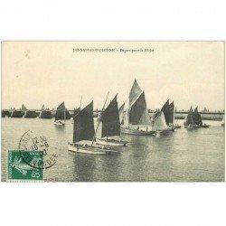 carte postale ancienne 85 LES SABLES D'OLONNE. Bateaux pour la Pêche à la Sardine. Le Départ 1909