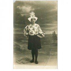 carte postale ancienne 85 LES SABLES D'OLONNE. Carte Photo de Elmlinger. Coin gauche biseauté