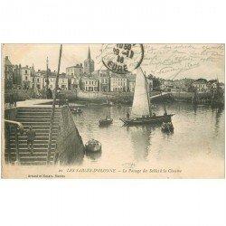 carte postale ancienne 85 LES SABLES D'OLONNE. La Chaume Plage des Sables 1916 Bateau de Pêche