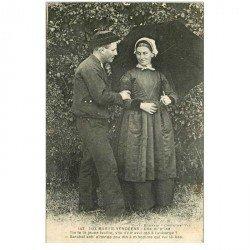 carte postale ancienne 85 LES SABLES D'OLONNE. La méprise aux Marais Vendéens couple avec parapluie 1931