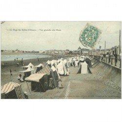 carte postale ancienne 85 LES SABLES D'OLONNE. La Plage 1907 et les Tentes côté Ouest