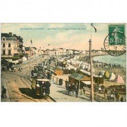 carte postale ancienne 85 LES SABLES D'OLONNE. La Plage 1912 Tramway